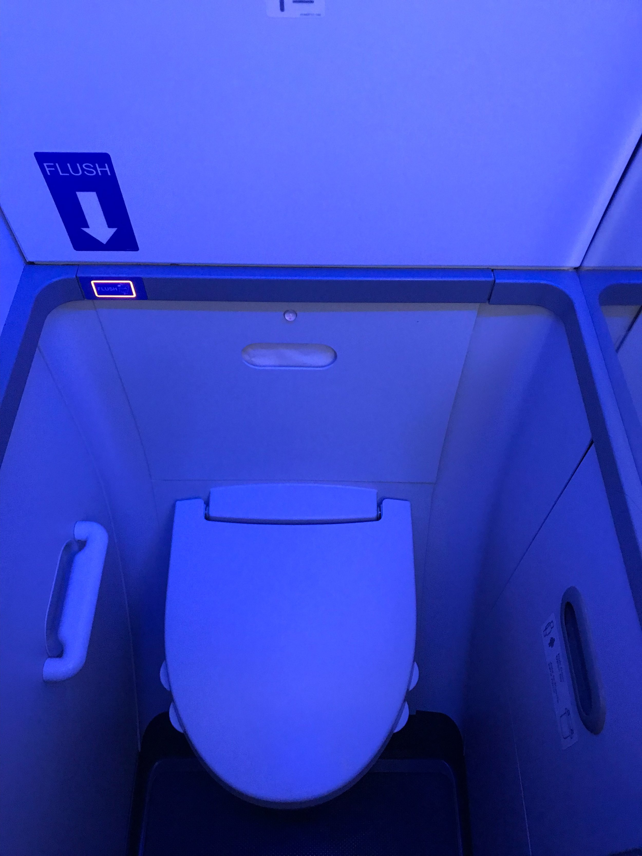 Nice LED lighting in the mid-cabin lavatory.