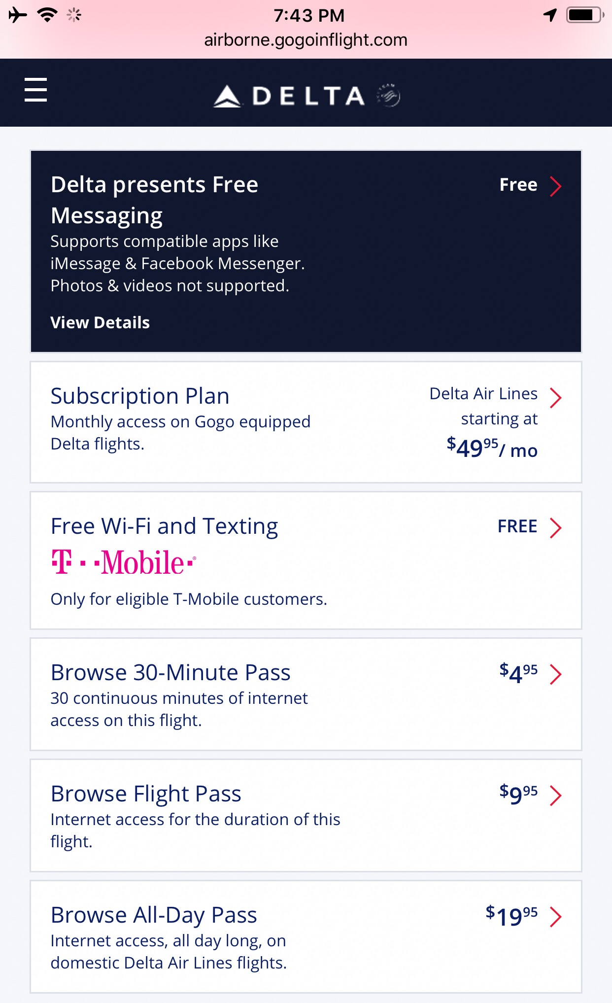 Delta currently offers free in-flight messaging and WiFi plans for purchase.