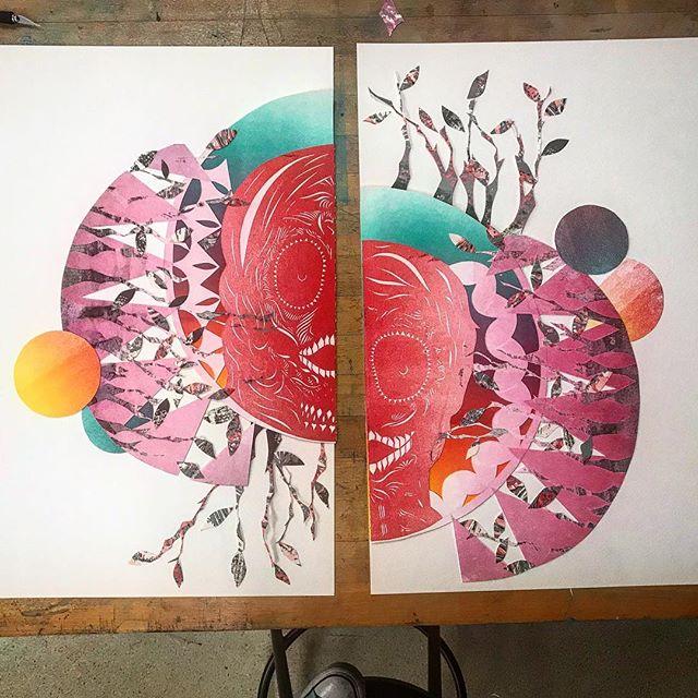 #somethingnew #collage #oldprints #newprint #printmaking #printmakingart #studiolife