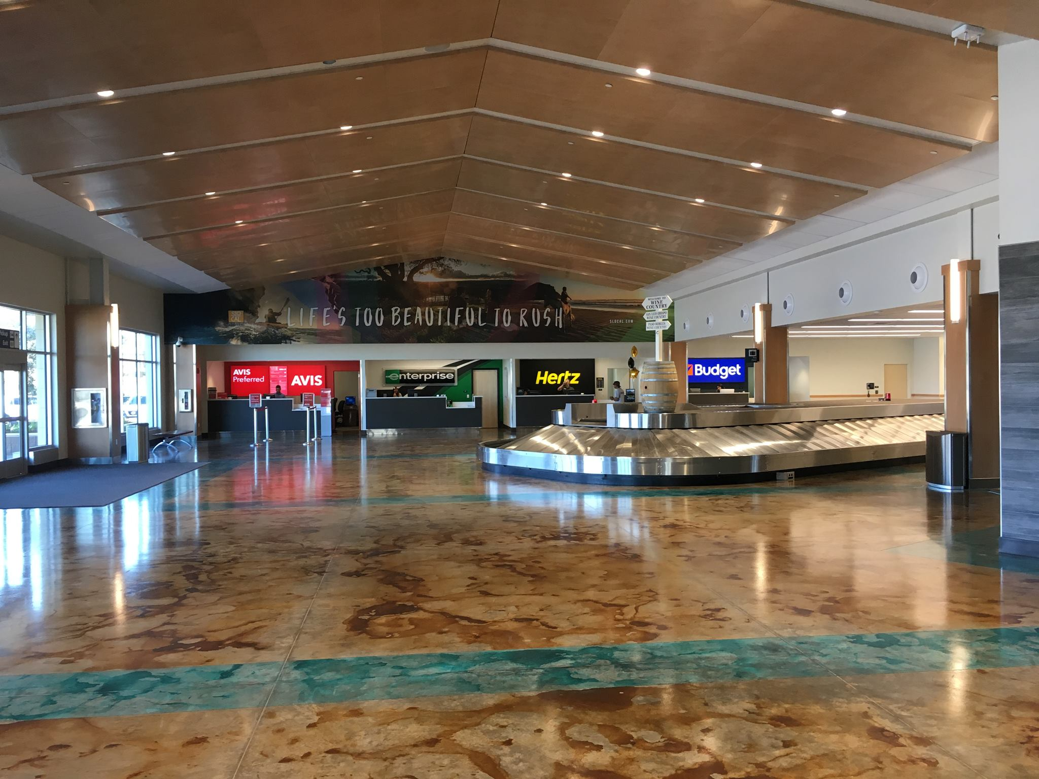 SBP Airport Relocation - San Louis Obispo, CA - Provided and installed columns, wainscoting, and light guards, in addition to the installation of artwork and other aviation inspired decor.