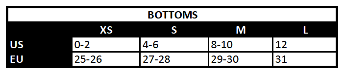 *Please note size conversions may vary for each individual and may not fully match the conversions shown in the above.