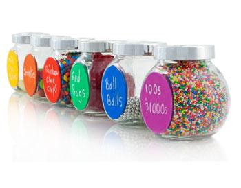 Sample of painted jar labels using Derivan Chalkboard colours