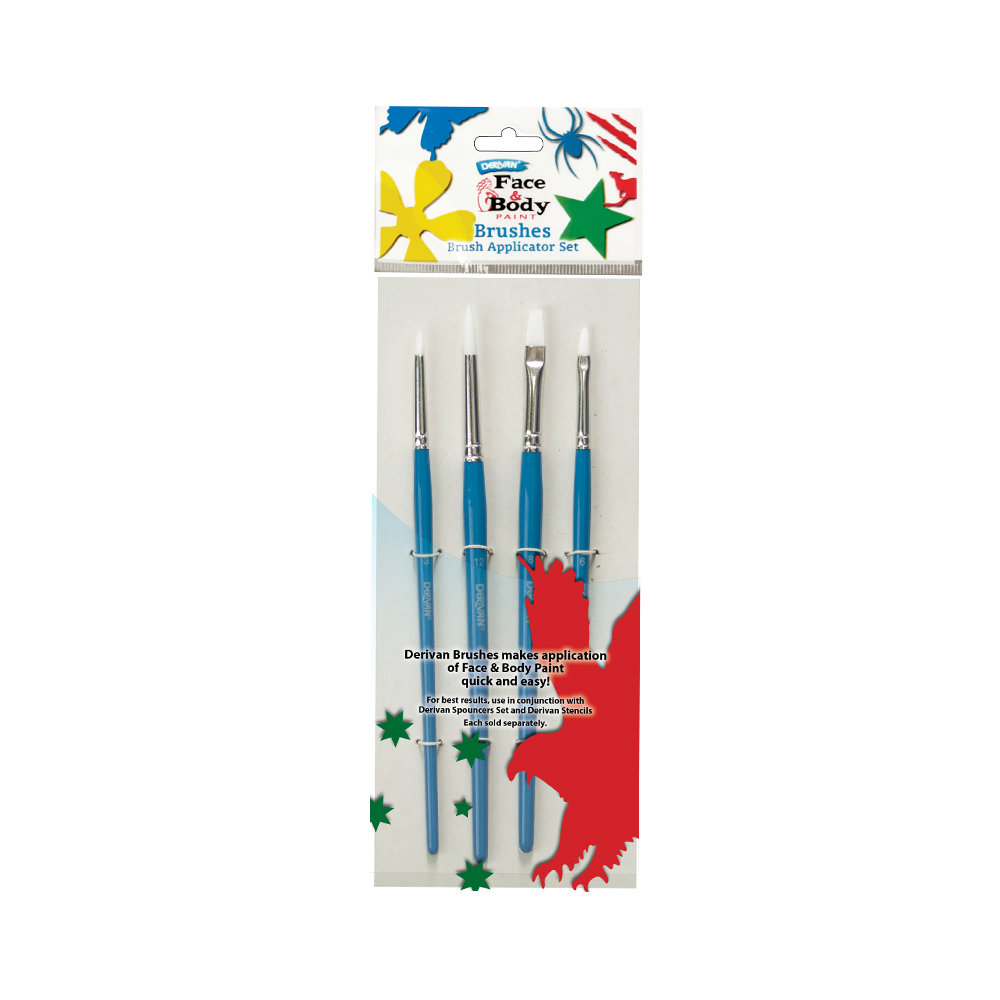 Brush Set   Derivan brushes makes application of Face & Body Paint quick and easy.  This set contains four short handle white synthetic taklon brushes. Two round pointed sizes 3 and 12, one flat size 8 and one filbert size 6.