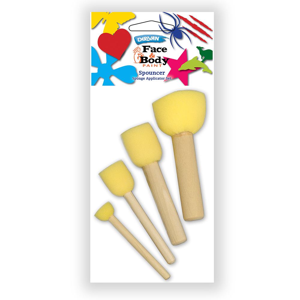 Spouncer Set   The Spouncer Set is an ideal accompaniment to the Stencils as they provide a simple method of dabbing as opposed to brushes. Each Spouncer has a foam dabber and a wooden handle. The set consists of 4 sizes which scale from small (1.5cm diameter) to large (5cm diameter).