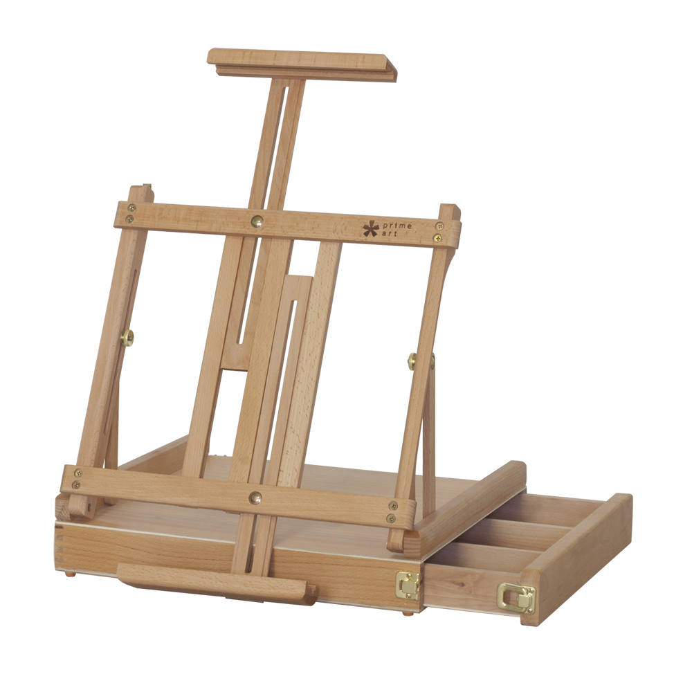 """CEZANNE"" TABLE BOX EASEL      4BE336450    • Size: 42x36x12cm.  • Beechwood.  •  Varnished.   • Hold canvas up to 85cm.  • Canvas support can be adjusted to any angle between vertical and horizontal.   • Side drawer with compartments for brushes and paints."
