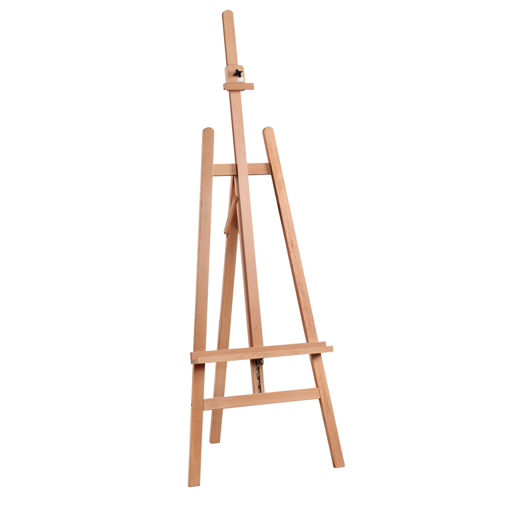 WORKSHOP EASEL     4BE336423    • Size: 57x88x175(234)cm.   • A frame style.   • Beechwood.  • Varnished.  • Max. canvas to 130cm.   • Adjustable canvas support with ratchet control.  •  Anti-vibration inner spring.  • Sliding canvas holder.   • Assembly required.