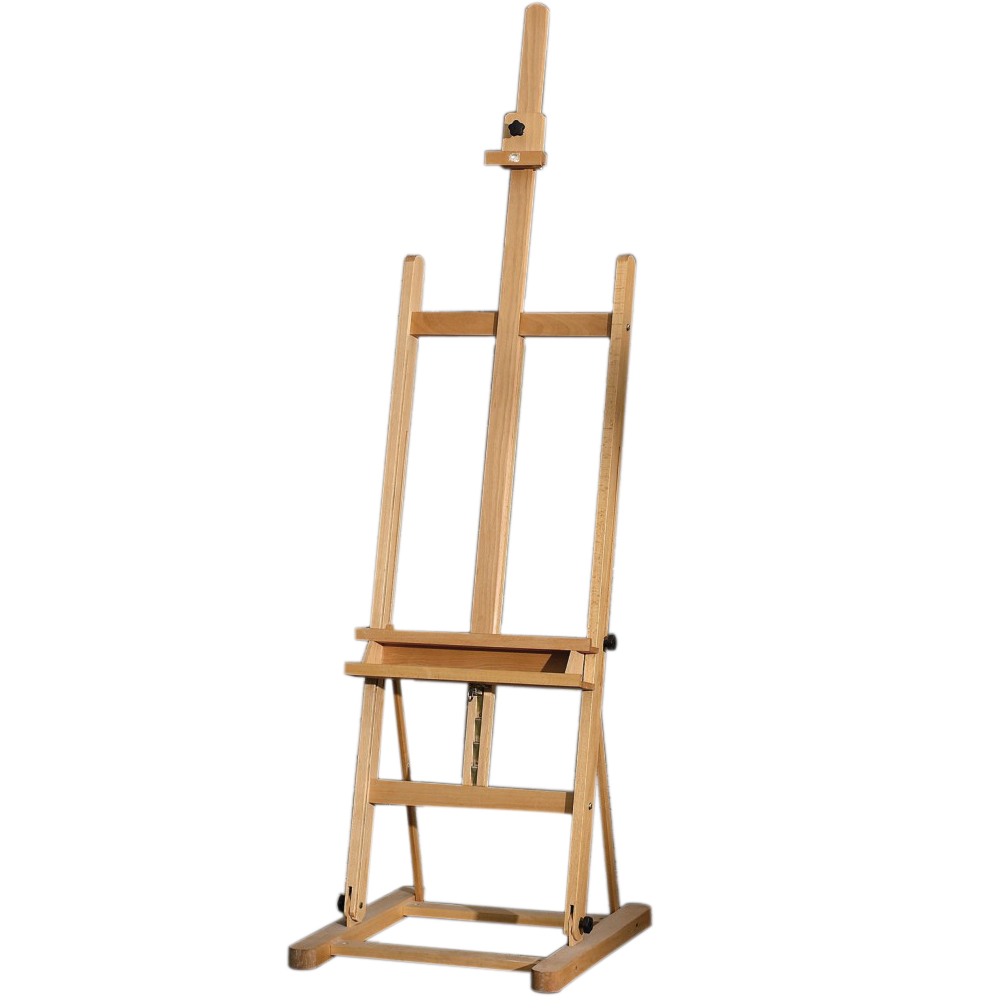 MEDIUM STUDIO EASEL     4EB336015   • Size: 47x53.5x185cm.  • H frame style.  • Beechwood.   •  Max. canvas to 140cm.   • Adjustable canvas support with ratchet control.  •  Adjustable working angle.   • Storage tray.   •  Sliding canvas holder.  •Assembly required.