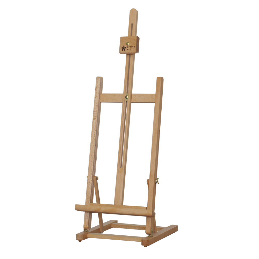 H-FRAME TABLE EASEL     4BE336414    •  Size: 27.5x32x75(94)cm.   • H style frame.   •  Beechwood.   •  Varnished.   •  Hold canvas up to 56cm. .  • Adjustable height and inclination angle.   •  Suitable for small drawings, painting studies or display.   •  Assembly required.