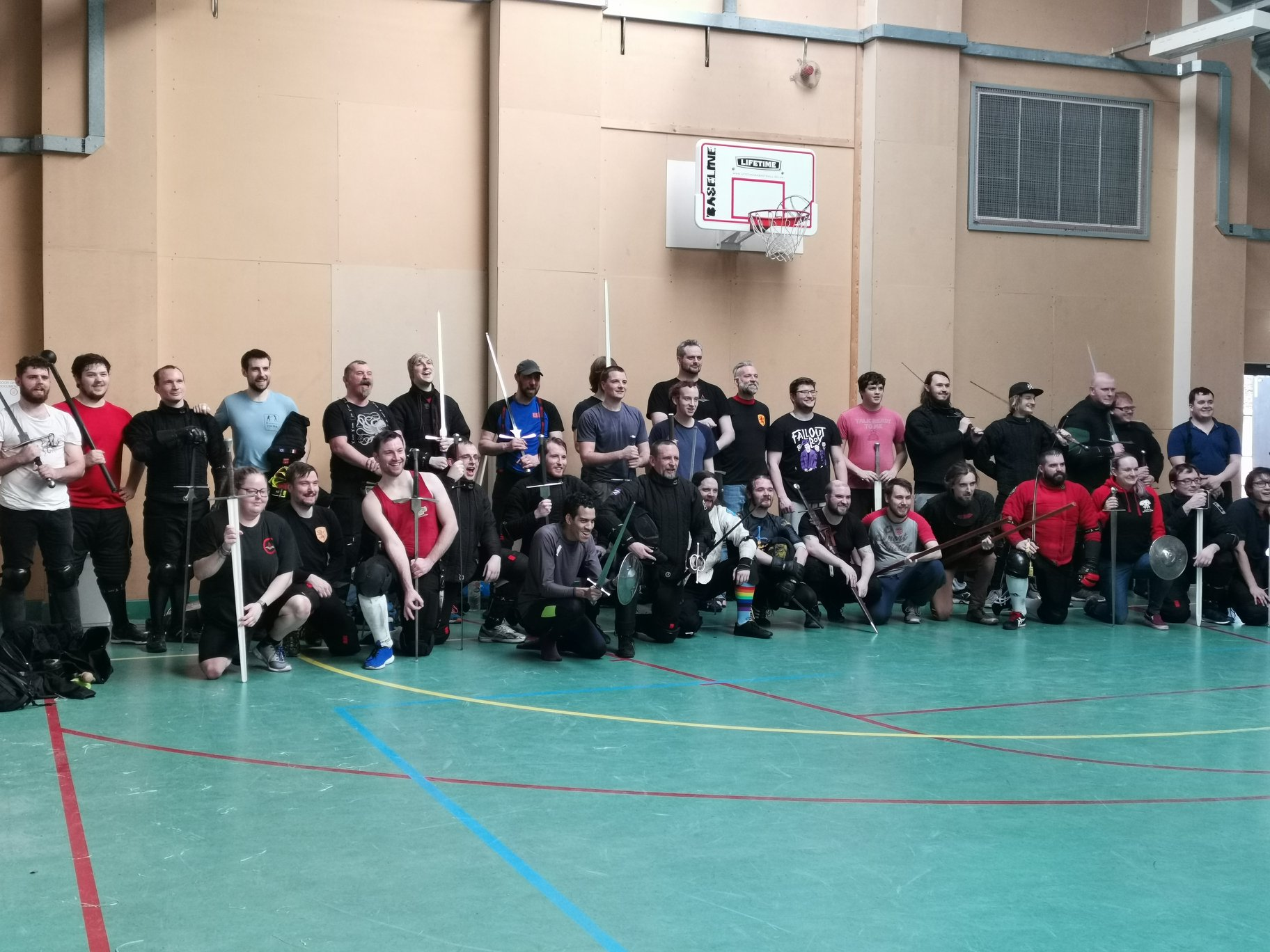 Line Up of the Fighters that took part in the WMHA Sparring Event. Thanks to Mercian Mediecal Fight Club for hosting the day! Photo Credit: Amy Lewis.