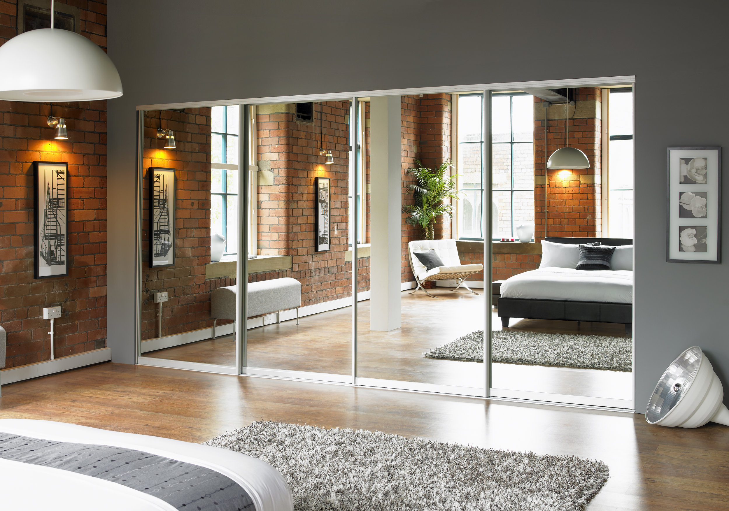 Our Simplicity sliding wardrobes, recently specified and installed in an industrial building conversion.