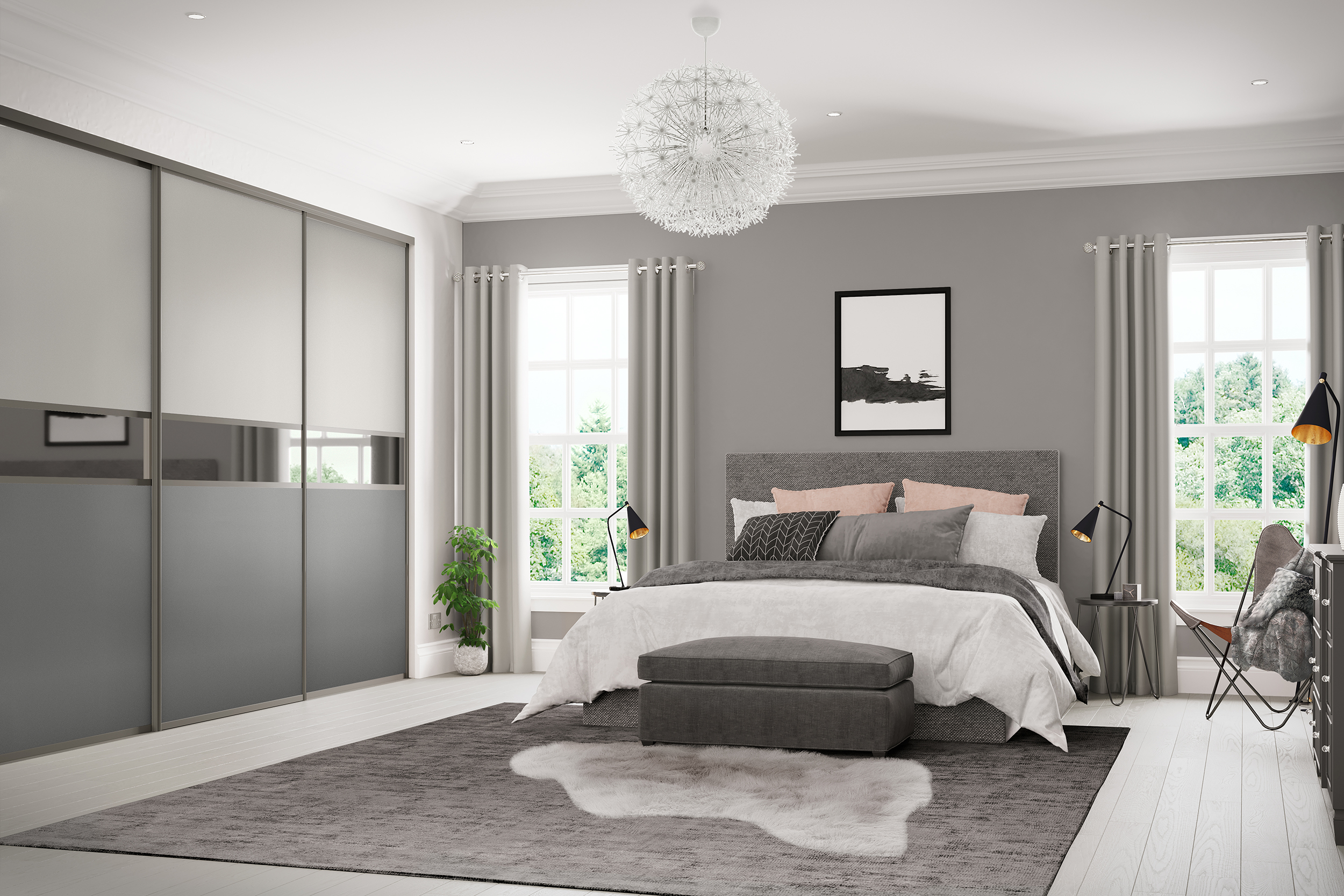 Resized Palermo Grey 101 - Light Grey and Dust Grey doors with Grey Mirror feature panels and Sardegna Graphite frame.jpg
