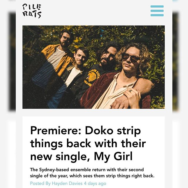 "Happy Release day @dokoband 🧡 ""My Girl' is finally out in the world today! Huge love to @pilerats_ for premiering the track this week and describing it perfectly as ""a masterclass in indie minimalism"" 🤯  Check out this lovely new track on @spotifyaunz and @applemusic now!"