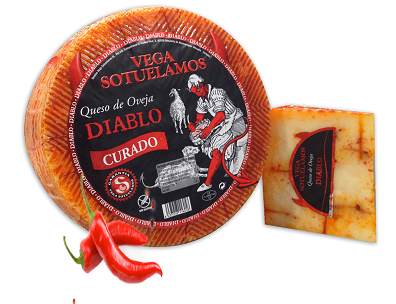 Diablo Chilli Manchego - An authentic Manchego sheep's milk cheese, cured theninfused with hot mojo picon paste of Canary Islands chillies.$8.30 per 100g