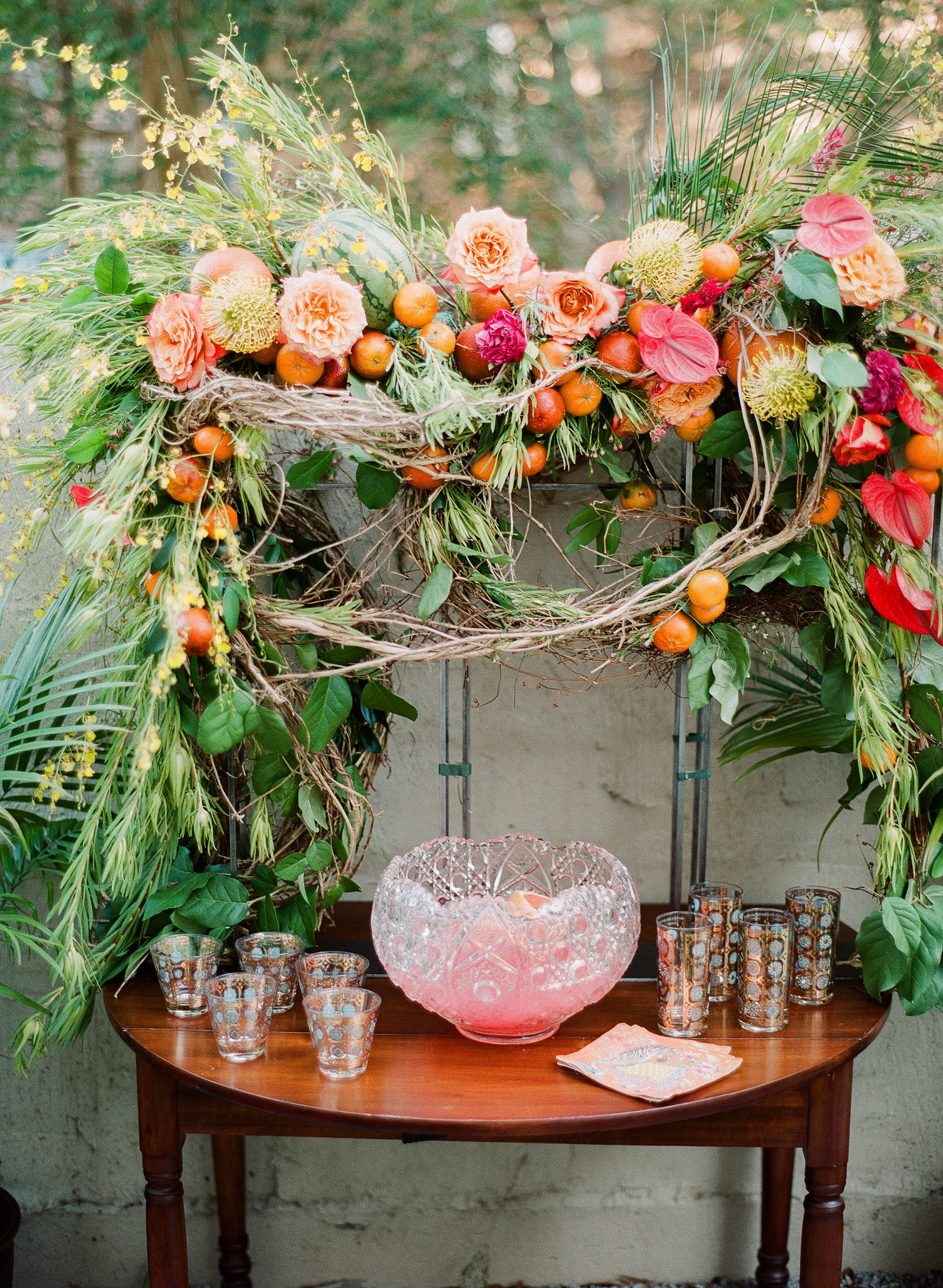 Charleston Porch Party, Events by Reagan, Dinner Party, Tropical Party, Charleston Event Planner , Fruit and Flower decor, Tropical Bar, Tropical Pink Punch, Decorative Glasses
