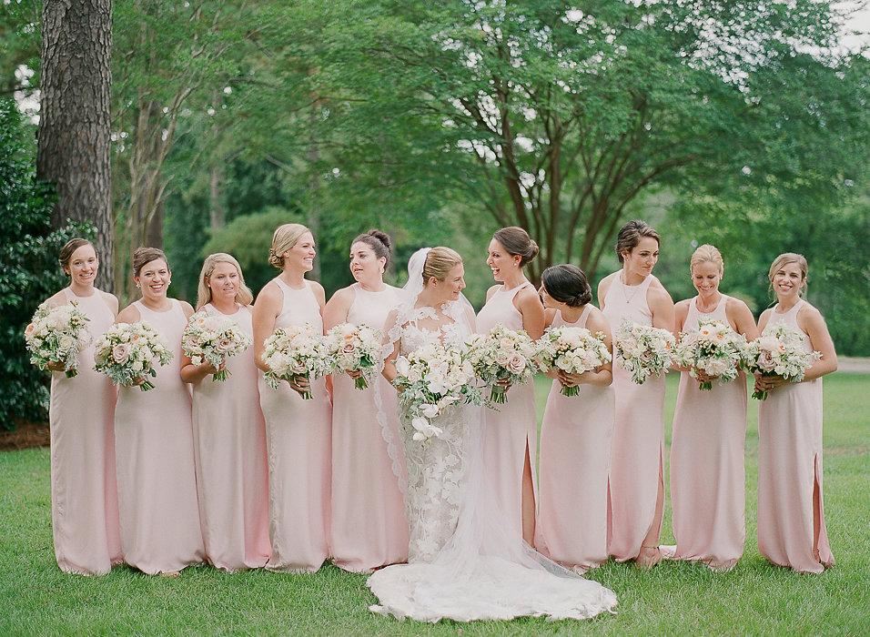 North Carolina Wedding, Events by Reagan, Destination Wedding Planner, Bride, bridesmaids, pink bridesmaid dress, flower bouquet
