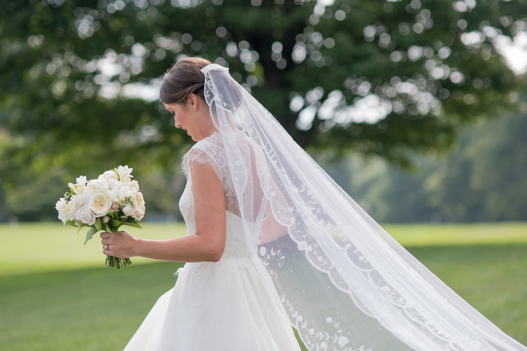 North Carolina Wedding, Events by Reagan, Destination Wedding Planner, Bride, Lace Wedding Dress, Veil, White flower bouquet