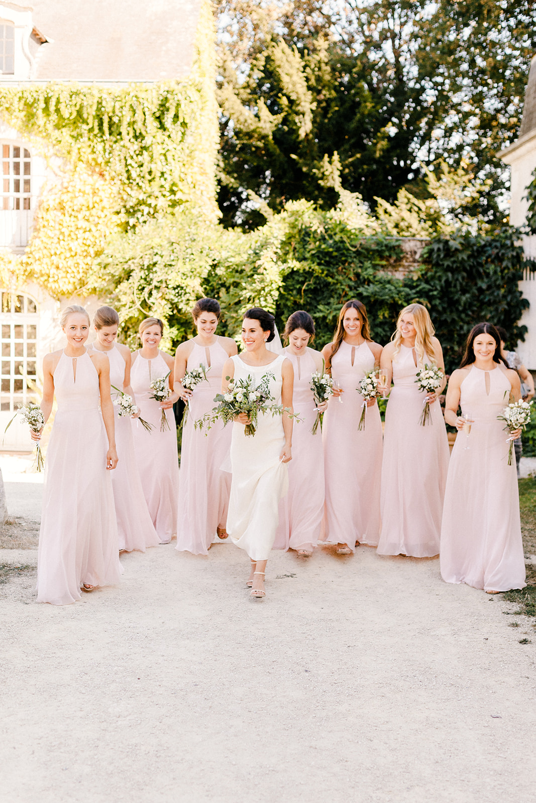French Chateau Wedding, Events by Reagan, France Wedding, Destination Wedding Planner, Bride, bridesmaids, pink bridesmaid dress