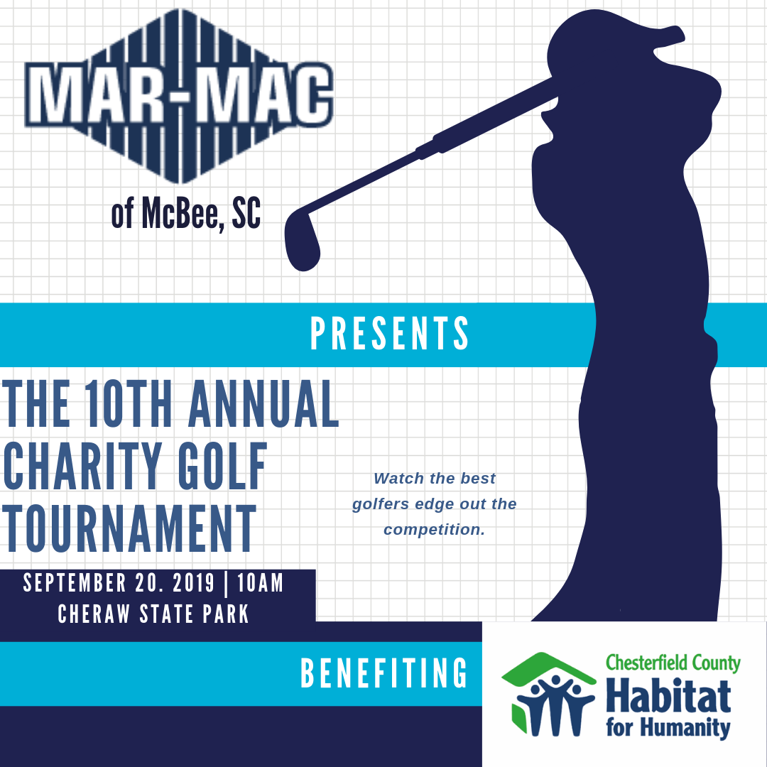 Join us - To sign up call 843.320.1014We're having a golf tournament in Cheraw for Chesterfield County Habitat for Humanity Restore, Cheraw SCFor more info visit us at 3702 Old Charlotte Hwy.