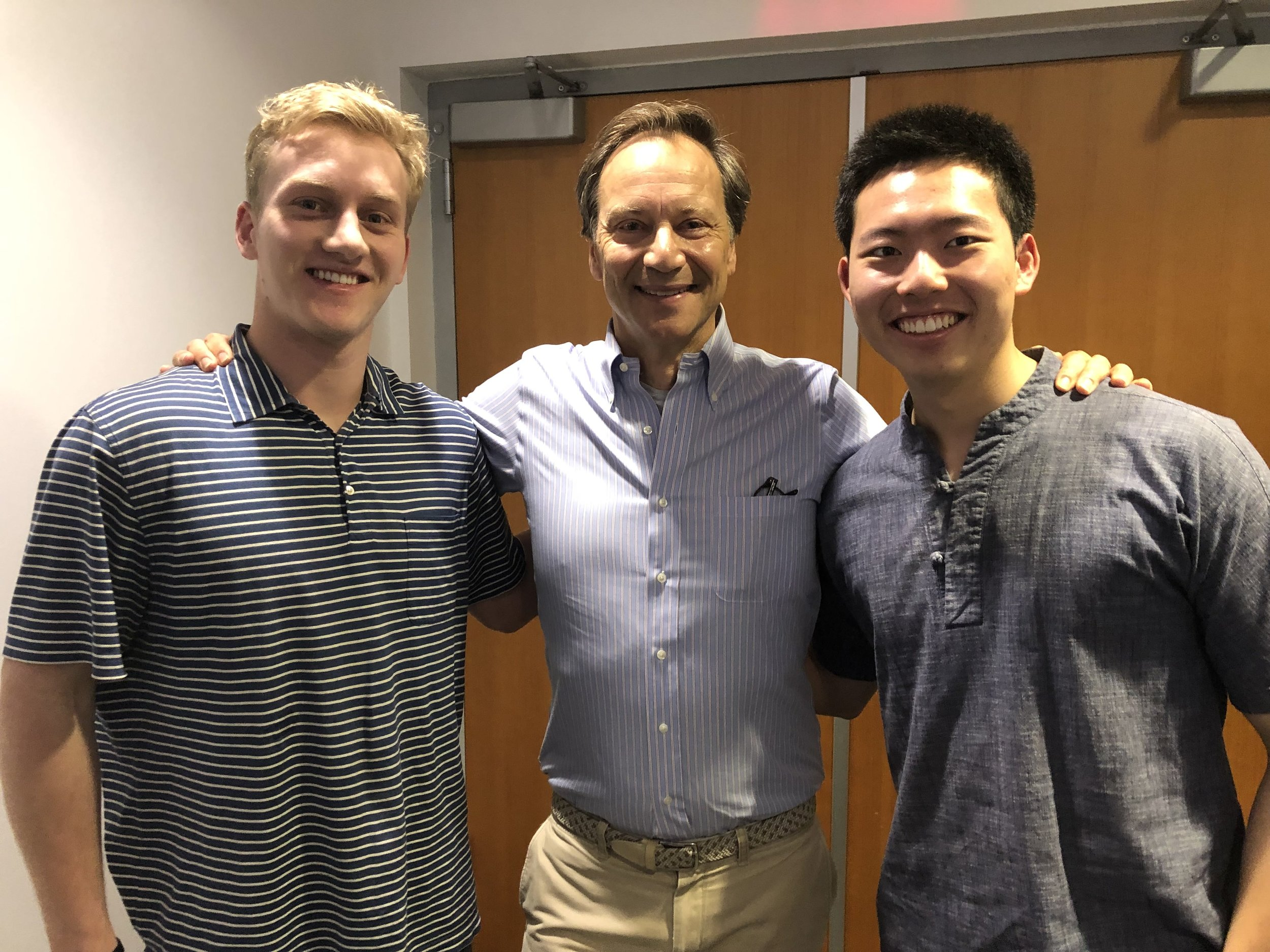 Our team members George Baughan (left) and Tiger Gao (right) with Mr. Mummert