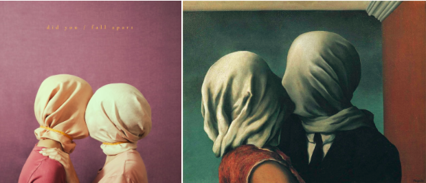 (L) Album art for Prateek Kuhad's song did you/fall apart, 2018. (R) The Lovers II, Rene Magritte, 1928.