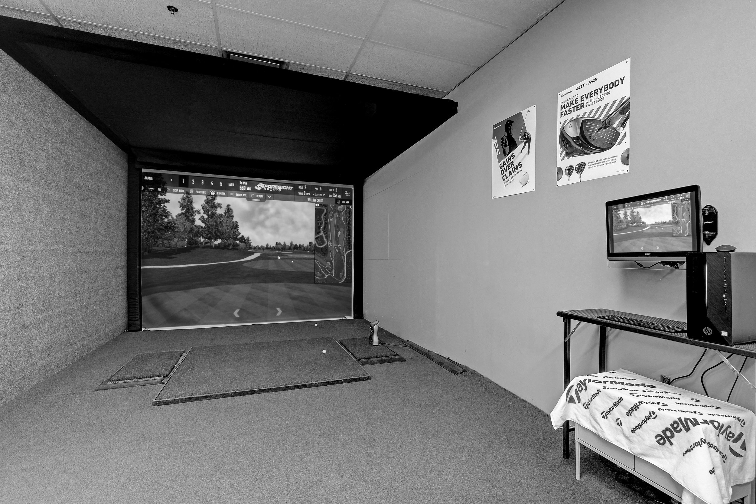 Foresight GC Hawk Simulation Bay - The GC Hawk Simulator is an overhead-mounted launch monitor that delivers an elite gaming experience. It is equipped with a Full projector hitting screen for enhanced realism. Play golf on 5 beautiful but challenging courses and practice with advanced range and testing software.Book 18 holes with up to 4 people,Create your own league$40/hr (Roughly an Hour Per Person for 18 holes)Book Now→