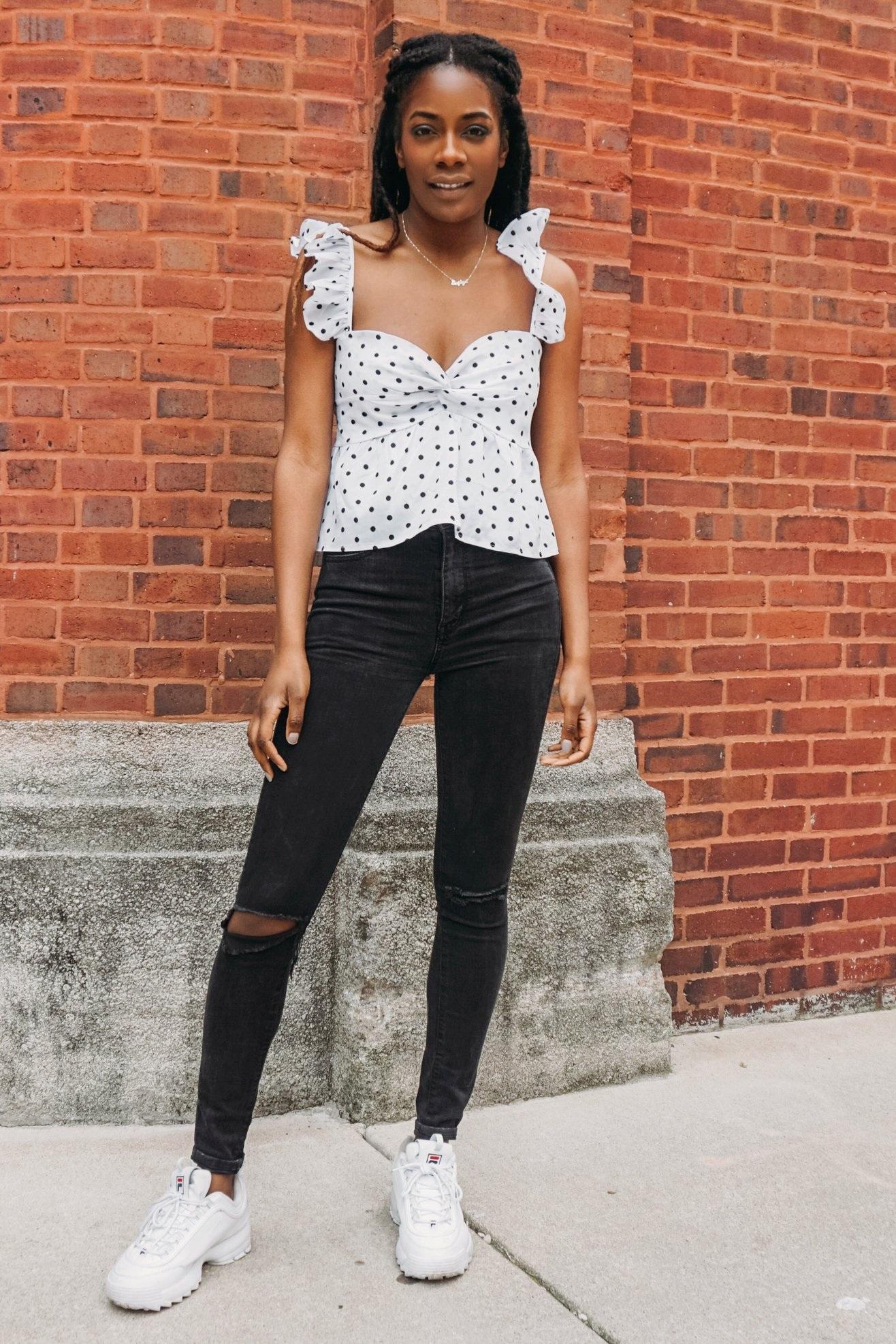 White+polka+dot+ruggle+shoulder+top.jpg