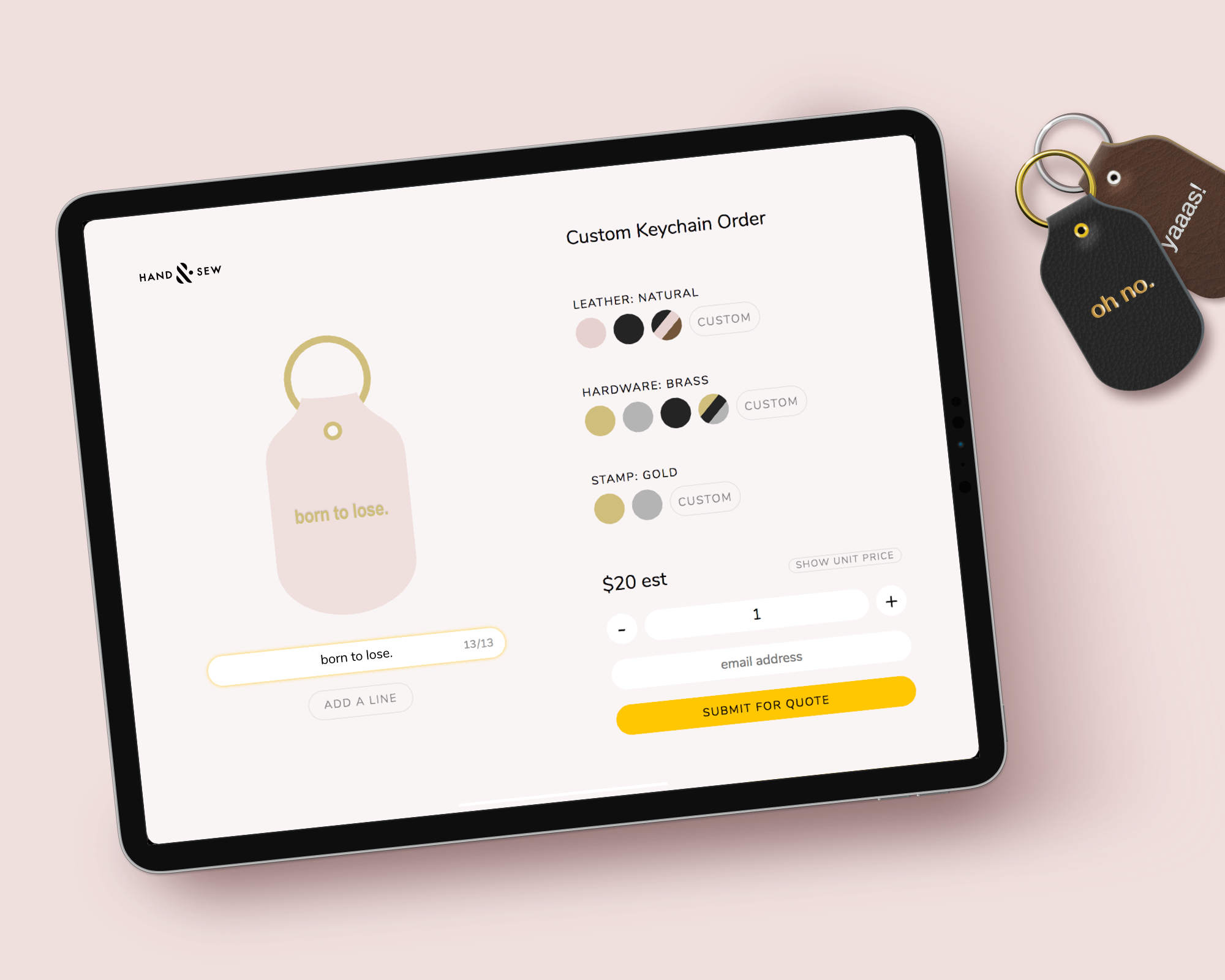 Configure yours - With our configuration tool, you can experiment with all the different options for customized keychains.Customize keychains ➝