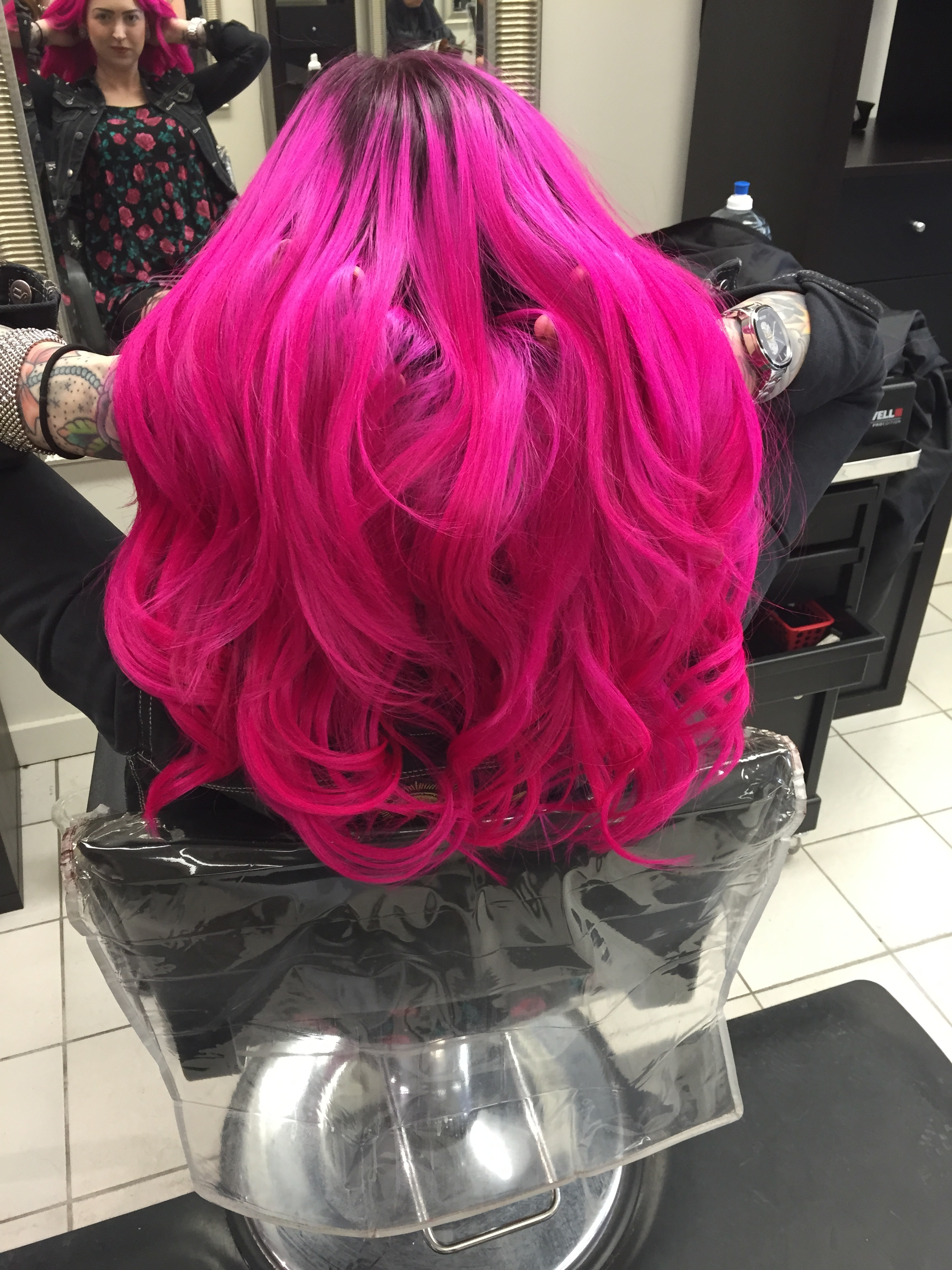 Pink fashion tape-in extensions