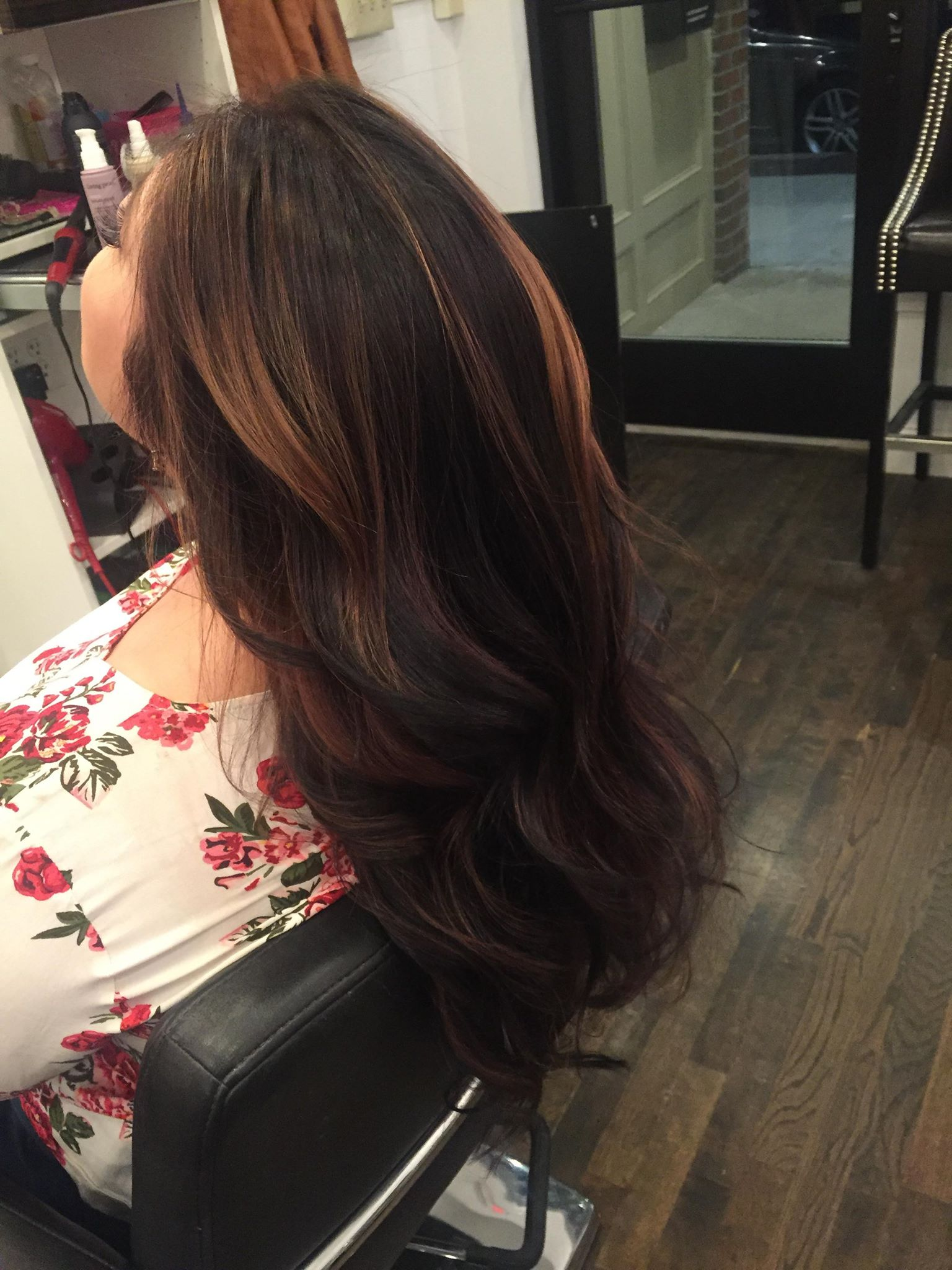 Brunette with natural highlights