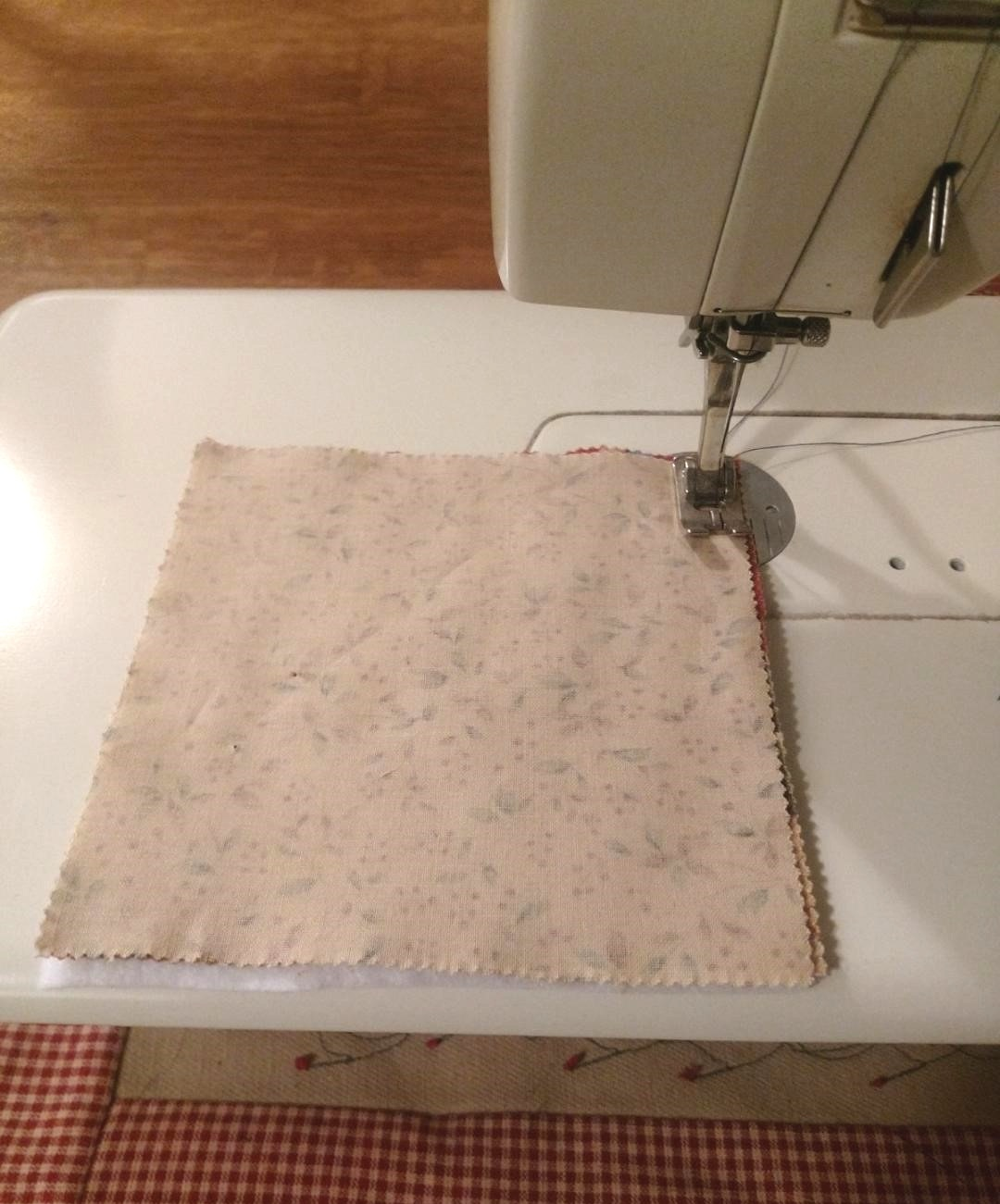 - Sew all the way around, leaving a two-inch opening through which you will turn your square right side out.After turning your square right sides out, tuck in your seams where you turned it and sew them shut, continuing all the way around the square.