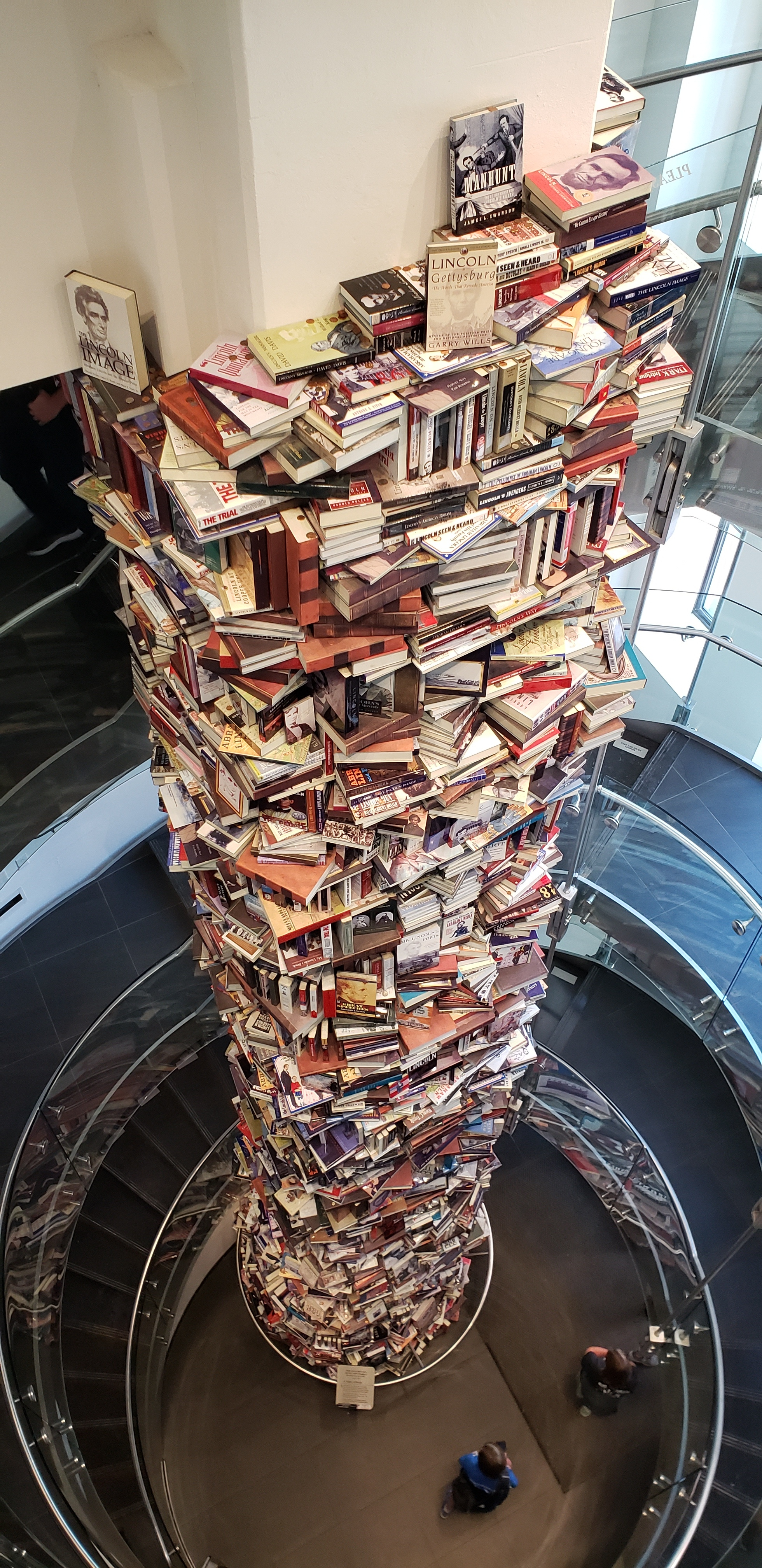 This is a tower of 15,000 books that have been written about Abraham Lincoln. Have you read one? The tower, standing 34 feet tall and 8 feet around, can be seen at the Ford's Theatre Center for Education and Leadership in Washington, D.C.