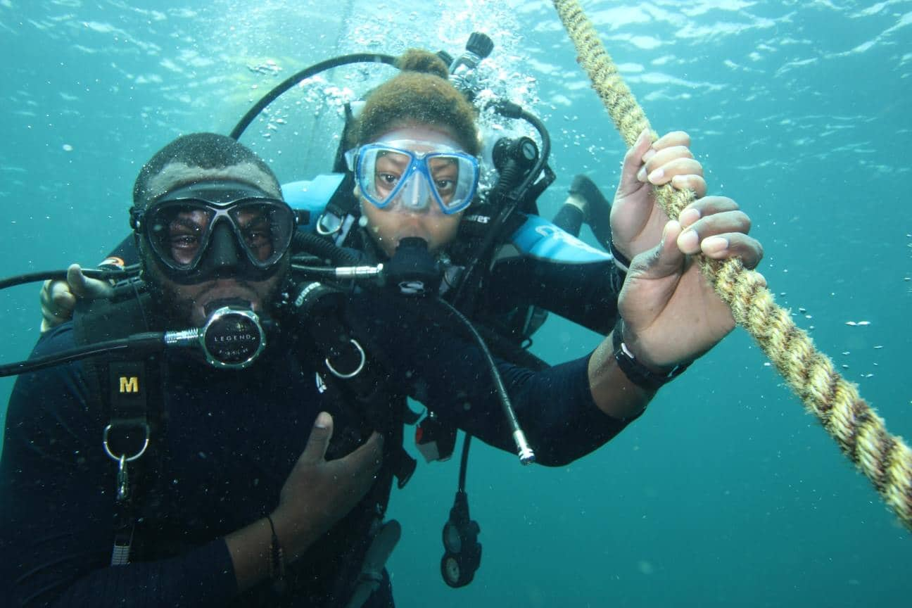 SIMRC staff conducting surveys for coral reef restoration
