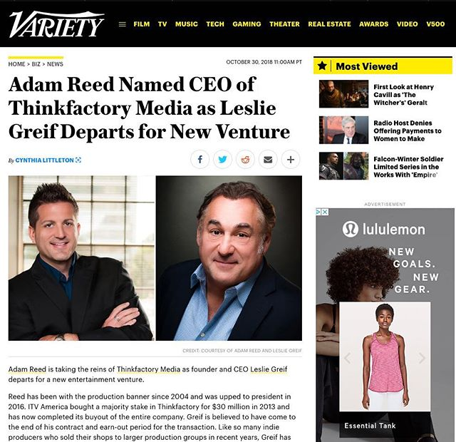 Adam Reed named CEO of @thinkfactorymedia