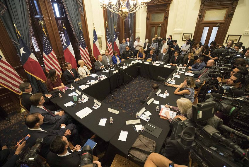 Dr. Jeff Temple (top right corner) at Texas Governor Abbott's roundtable following the Santa Fe High School shooting.