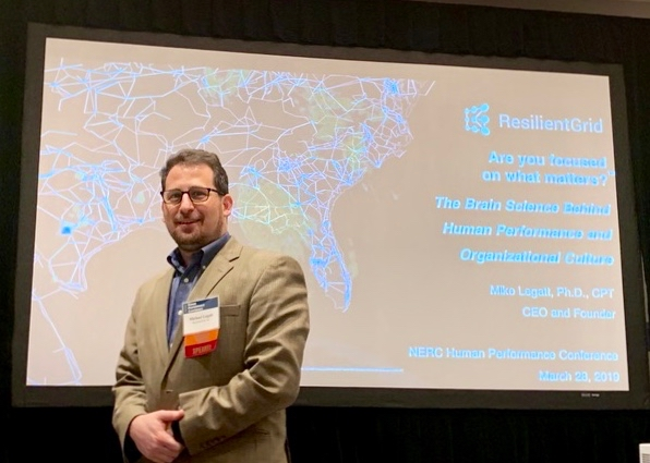 Michael Legatt, PhD, ResilientGrid's Founder and CEO presenting at the 2019 NERC Human Performance Conference