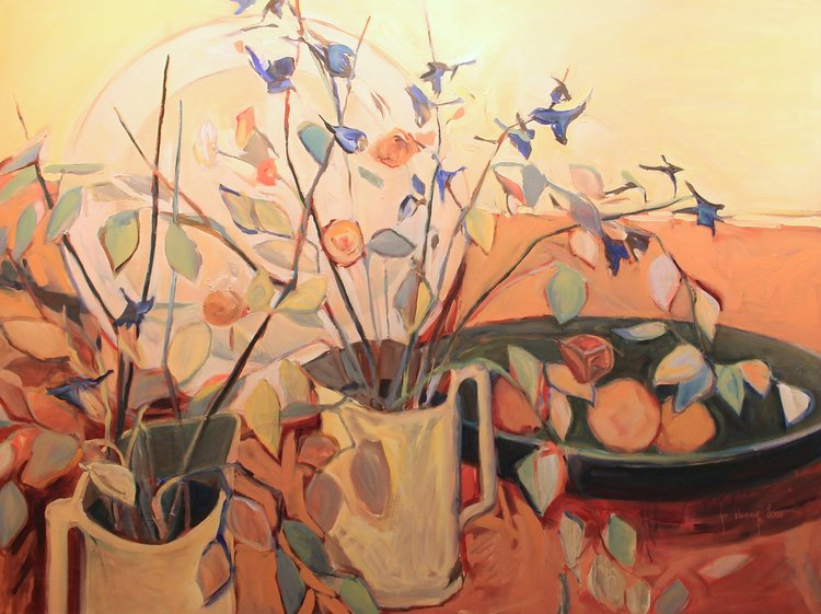 Still Life Twin Pitchers, Oil on Canvas, 48 x 60