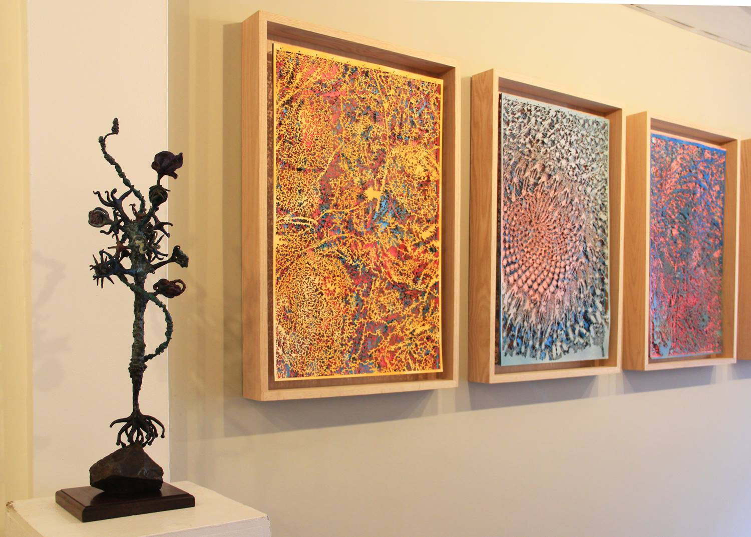 "Nicole Falls ""Scepter"" Cast Bronze and Wood, 3 Cut paper works by Blake Conroy."