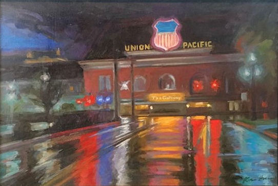 Karen Horne, Storm over Union Station, 12x18 oil, 16x22 w fr.jpg