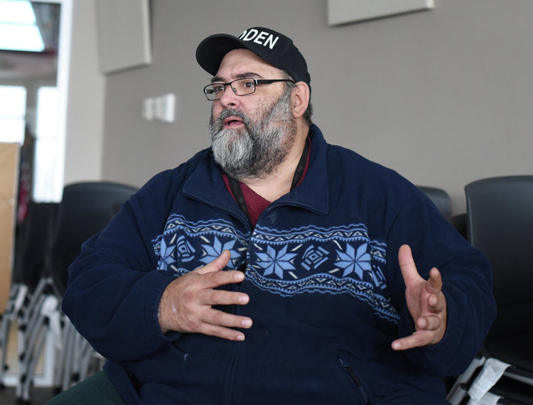 Kade Ferris, tribal archaeologist for Red Lake Nation, speaks about the buffalo farm on Thursday at the Red Lake Nation Government Center. (Jillian Gandsey | Bemidji Pioneer)
