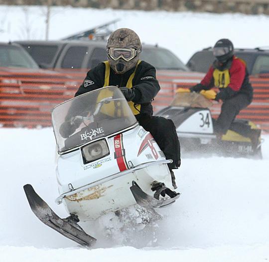 Vintage snowmobile racing returns to the ice of Big Detroit Lake on Saturday, Jan. 12. (Tribune file photo)