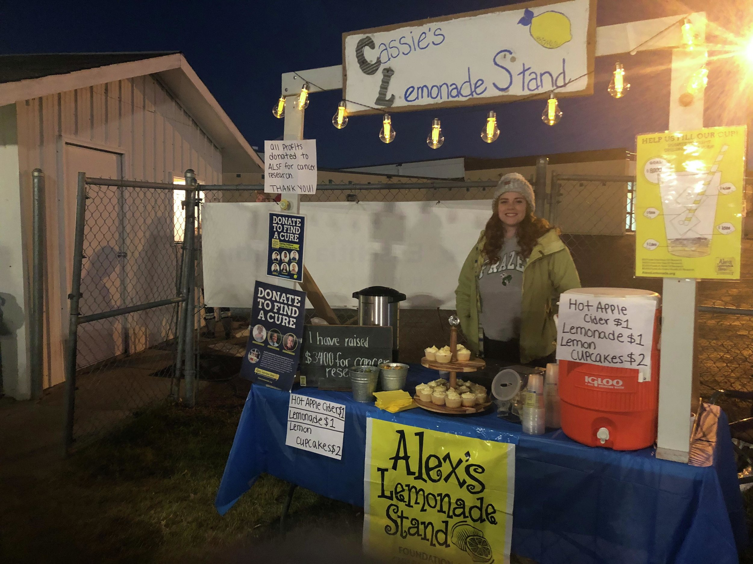 """This fall, Cassidy Shipman brought her lemonade stand outdoors for a Frazee Hornets football game and added hot cider to the menu, which she said was """"a really good idea,"""" as it helped raise even more money for ALSF while helping football fans keep warm in the chilly weather. (Submitted photo)"""