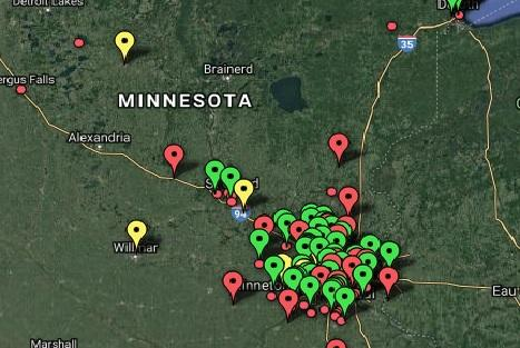 Top-rated light shows in Minnesota include shows in Wadena, Clearwater, Minnetrista, New Hope, Eden Prairie and Willmar. Map courtesy of mnholidaylights.com