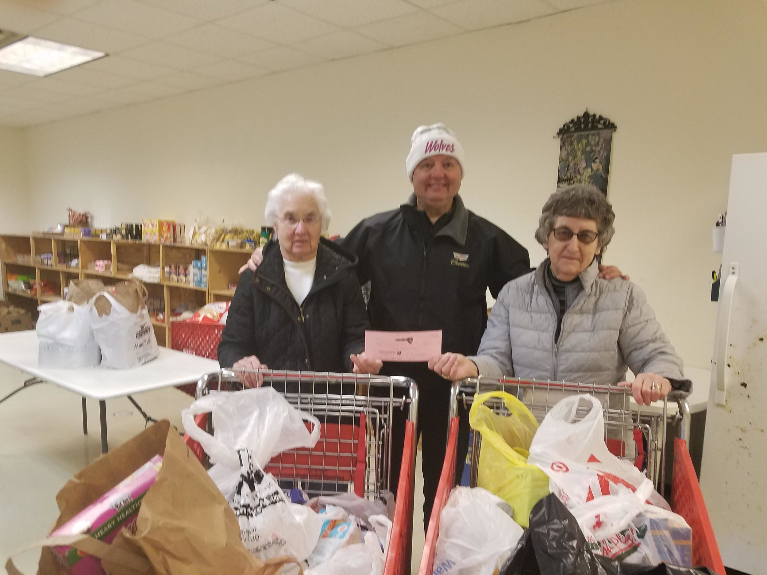 GP Anderson presents a check to Wadena Food Shelf volunteers Alice Houle and Mary Ann Hagen. Submitted photo