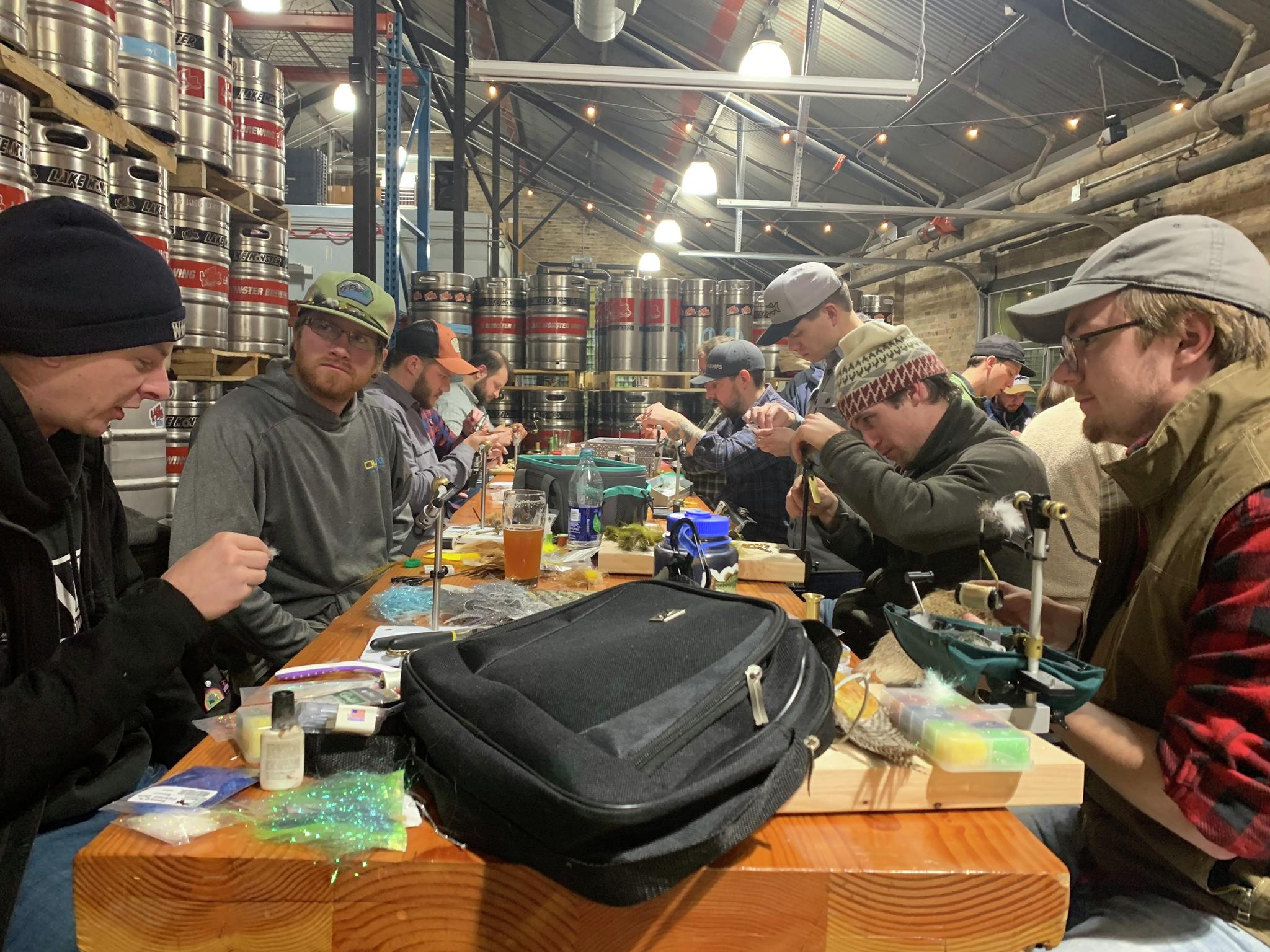 From October to April, fly-tying enthusiasts gather at Lake Monster Brewing in St. Paul on the first and third Tuesday of the month. Steve Hoffman / Forum News Service
