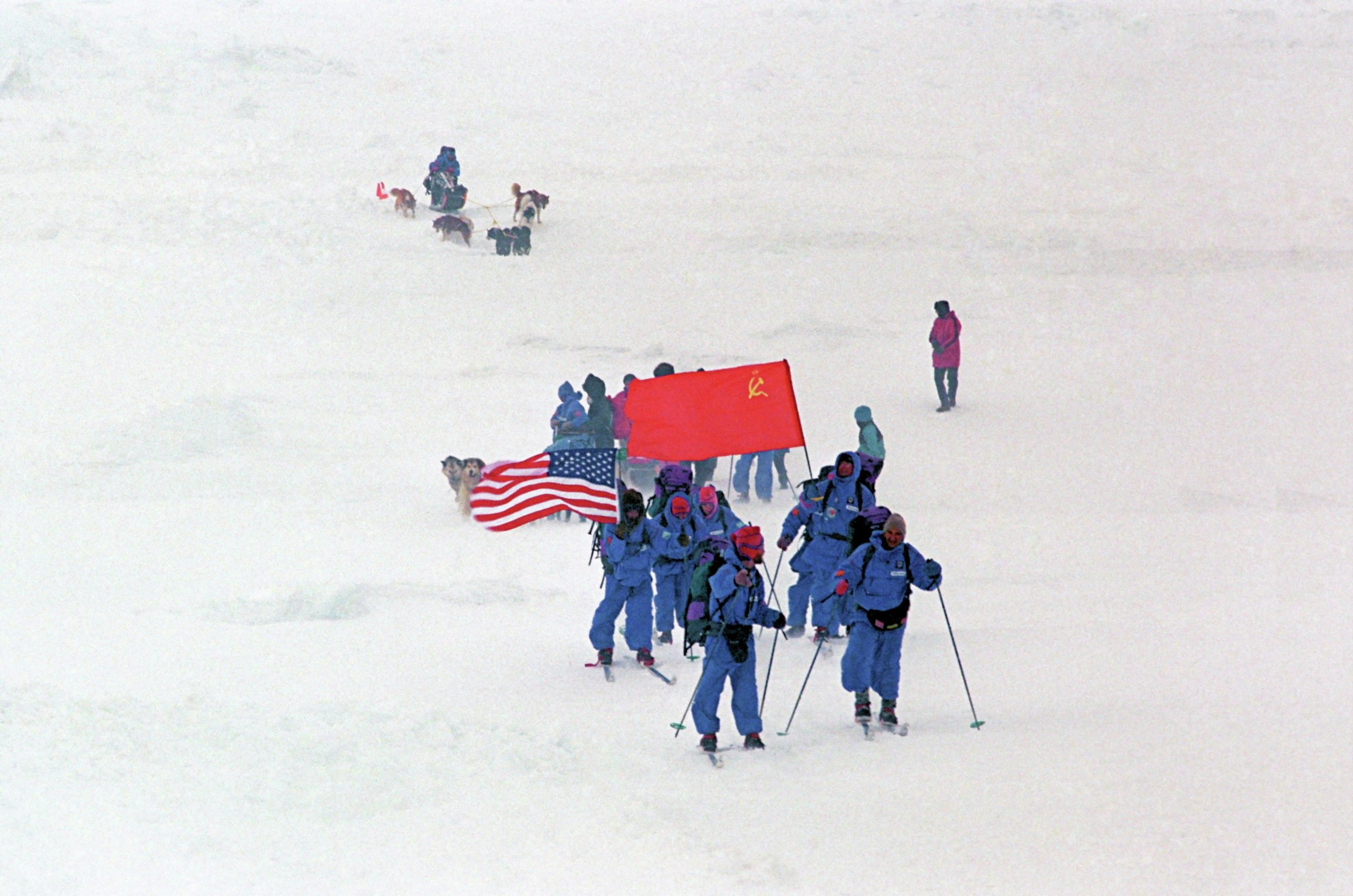 Members of the March-May 1989 Bering Bridge Expedition, a joint effort by U.S. and Soviet adventurers, traveled about 2,000 kilometers from Siberia to Alaska. (Submitted photo)
