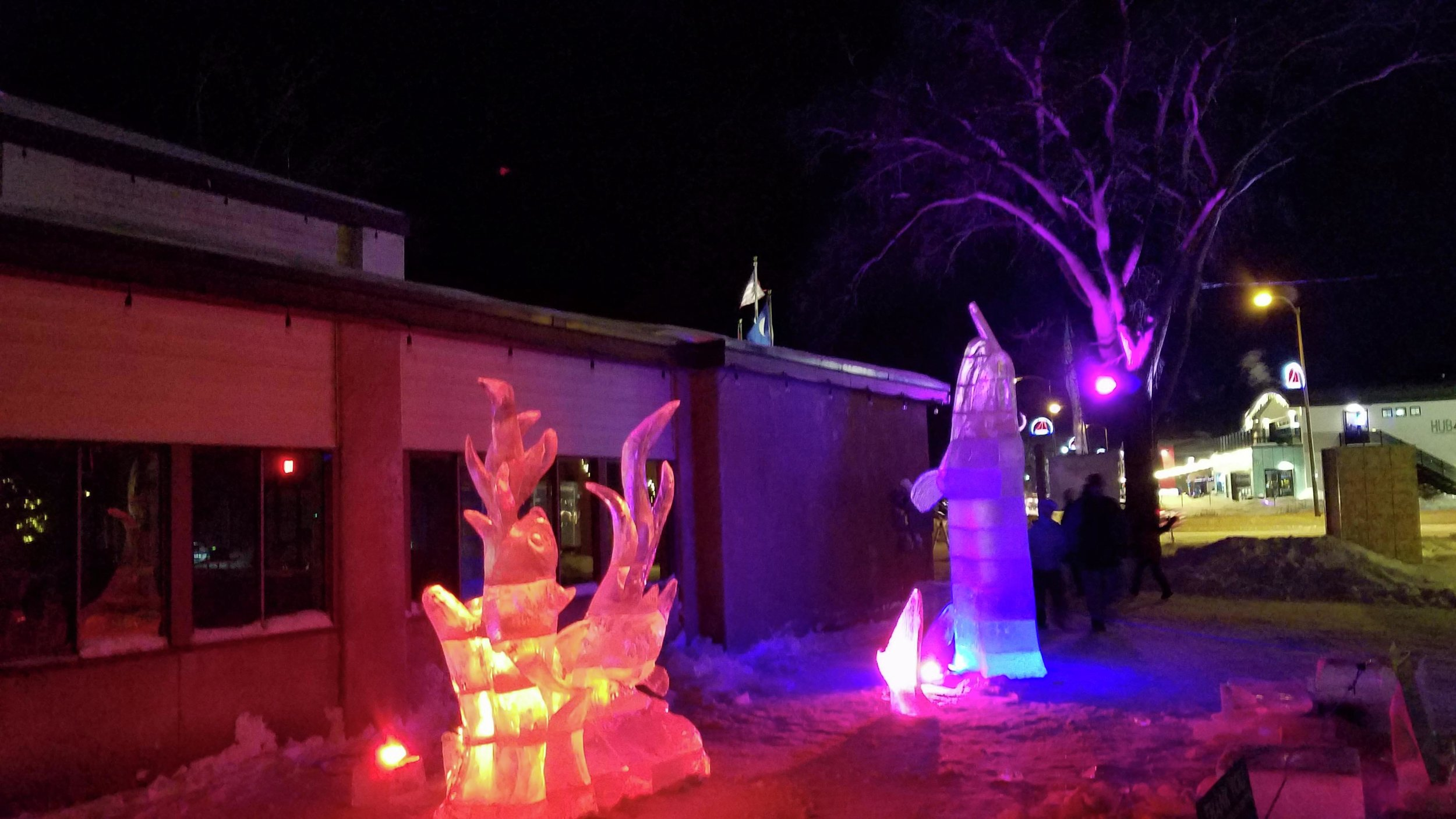 The sculptures from this year's competition made an impressive sight on Saturday evening, with the LED lights illuminating them. (Vicki Gerdes / Tribune)