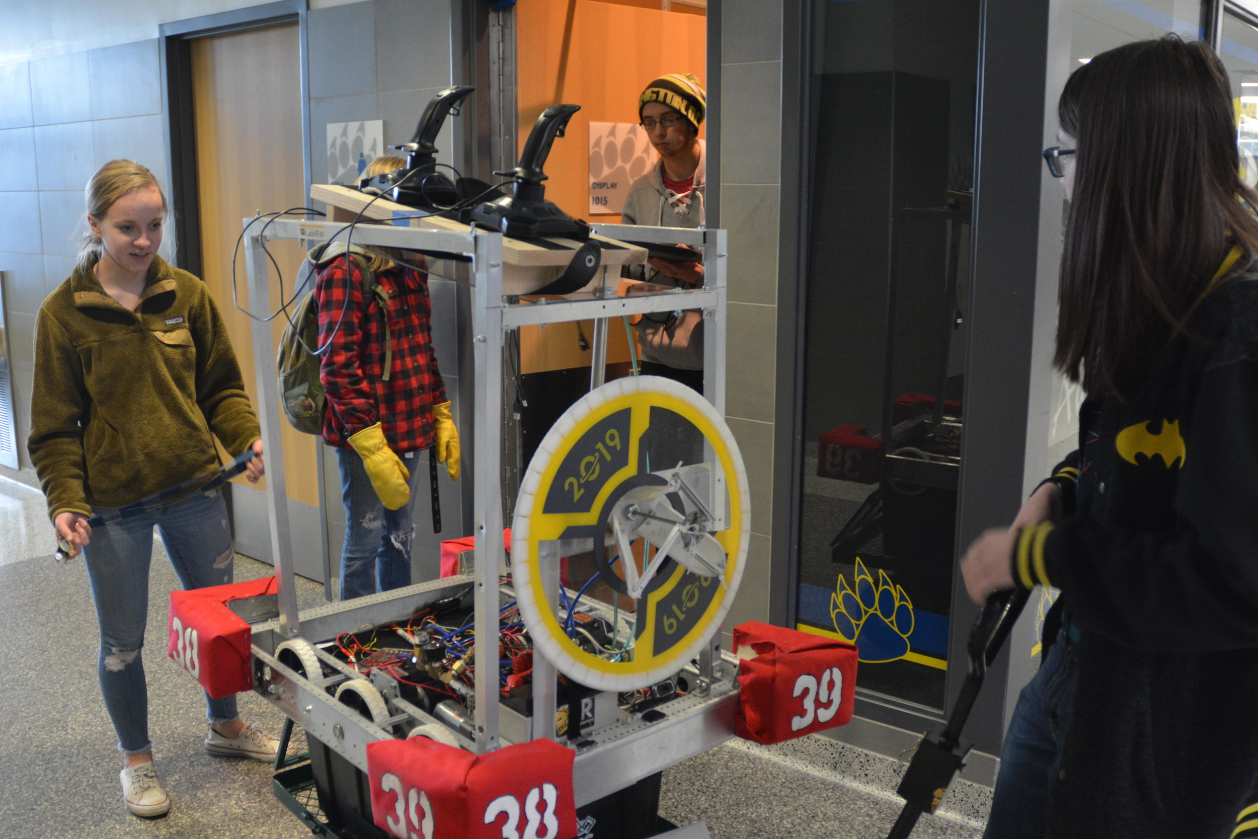 Robotics students transporting the robot to the lab. Michael Denny/Wadena Pioneer Journal