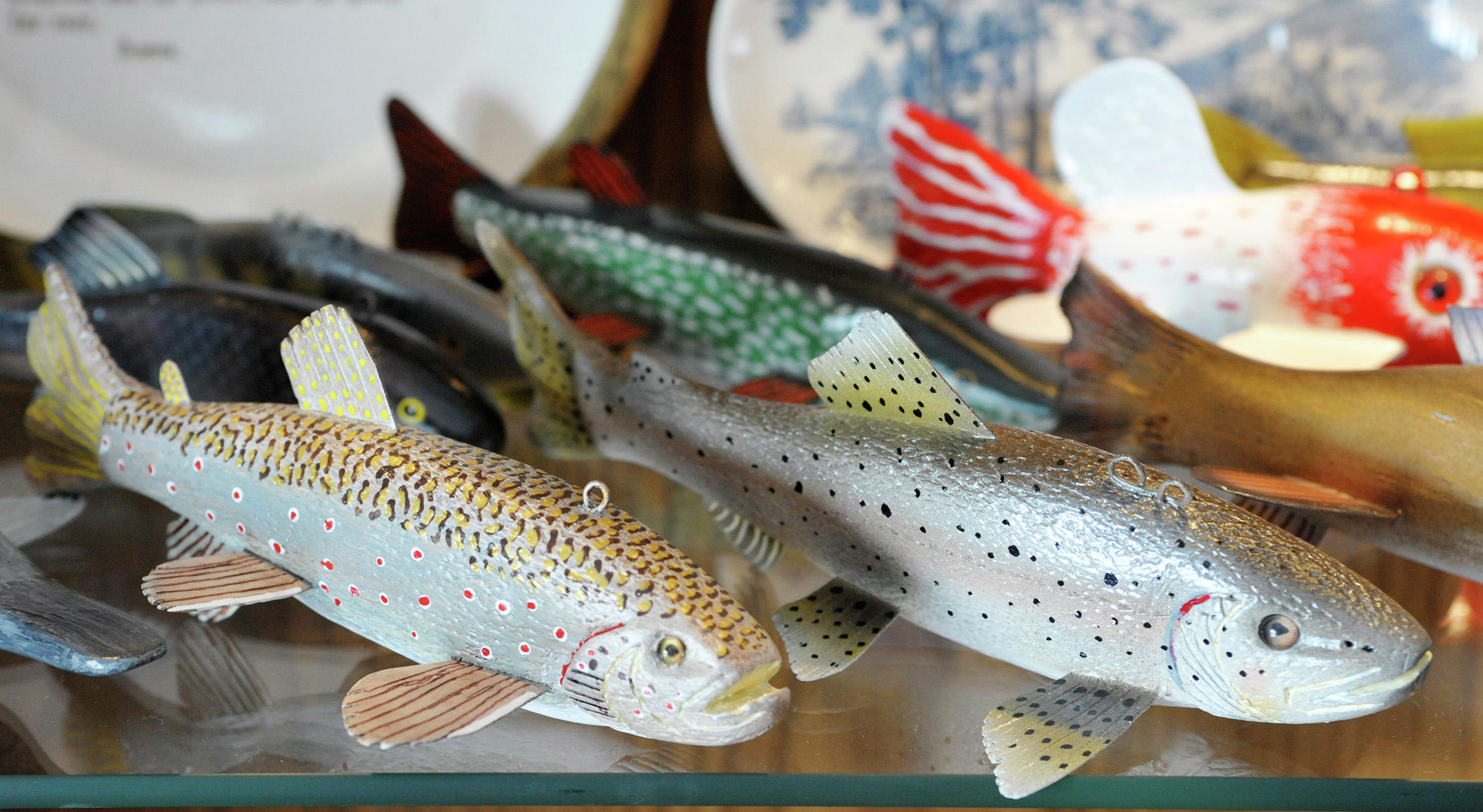 A pair of trout created by Hedlund sits on a shelf in one of his display cases in his home. (Lowell Anderson / Echo Press)
