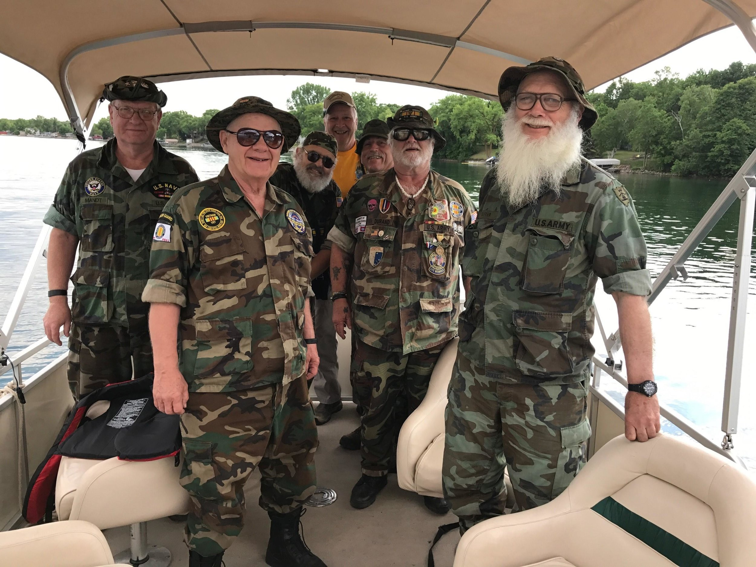 This group of area veterans came dressed for the occasion during a 2017 trip they scheduled through the Detroit Lakes chapter of Let's Go Fishing. (Submitted photo)
