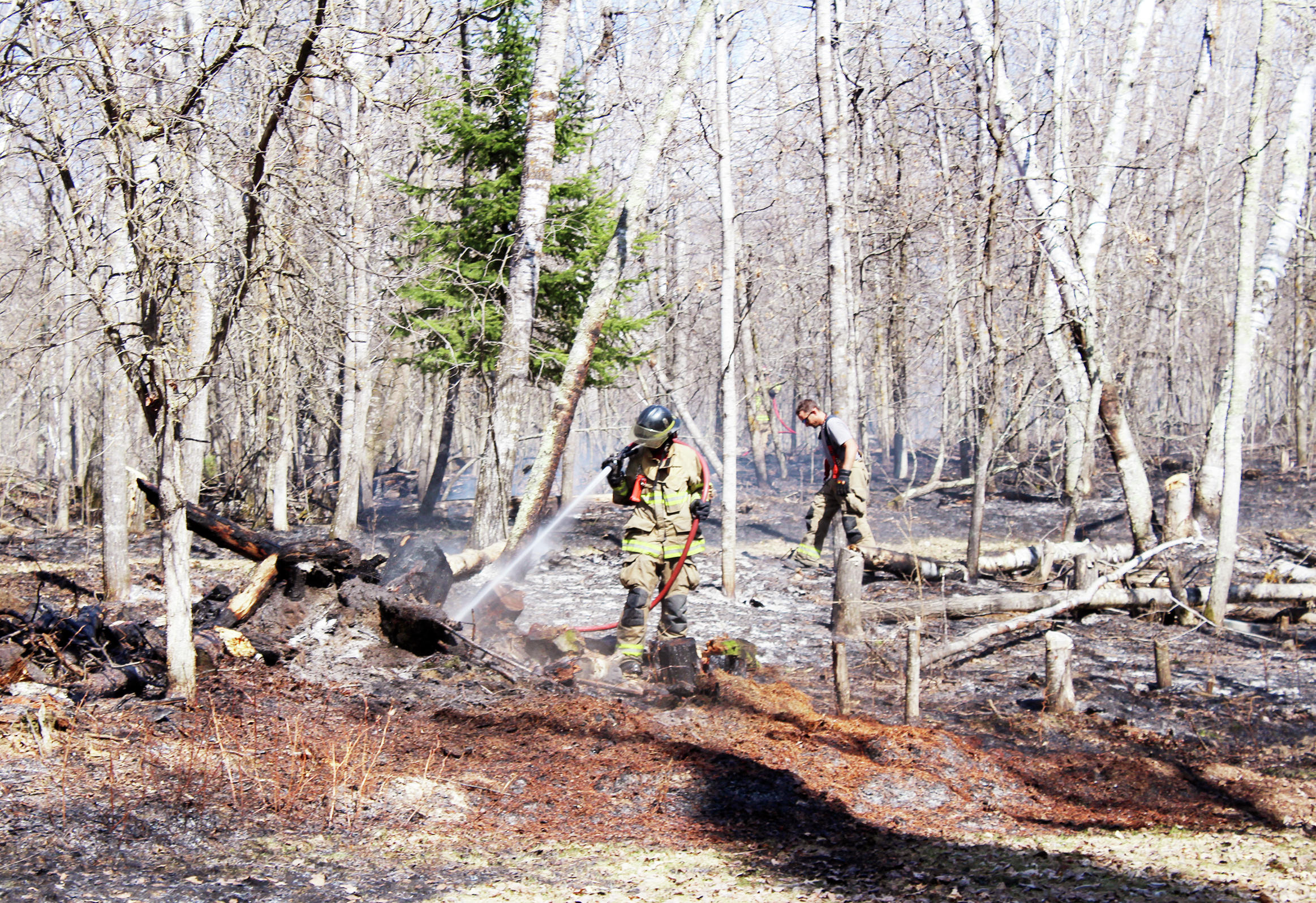 A smoldering brush pile from last December reignited on Thursday and spread over one acre, according to the Park Rapids Fire Department. (Shannon Geisen/Enterprise)